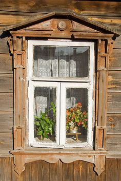 Old wood window in Suzdal, Russia, near Moscow.