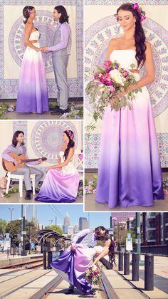 Tolles Dip-Dye Brautkleid Designer: Decode 1.8 – Fotos: Green Valley Photography Weddings