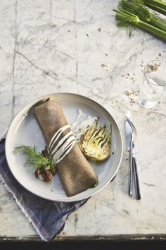 Fennel Buckwheat Crepes: Stuffed with Brussels Sprouts & Shiitake, Fennel Mornay Sauce {Gluten-Free}