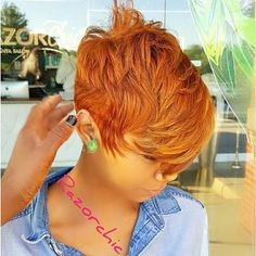 Dope cut and color! Dope cut and color! Short Sassy Hair, Cute Hairstyles For Short Hair, Hairstyles Haircuts, Short Hair Cuts, Curly Hair Styles, Natural Hair Styles, Pixie Cuts, 27 Piece Hairstyles, Red Pixie