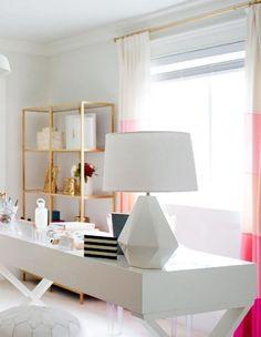 27 Cool Geometric Home Office Décor Ideas : Elegant Feminine Geometric Home Office Decor