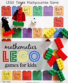 Lego Math Games - Help your children retain, remember and learn their math facts. 8 board games covering addition, subtraction, division and multiplication. Single and double digit boards. #etsy #download #homeschool #math #legos #ad
