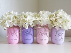 Baby Shower Centerpieces, Nursery Decor, Mason Jar Centerpieces, Pink and Purple Birthday Party Centerpieces, Distressed Mason Jars, Rustic by MyHeartByHand on Etsy https://www.etsy.com/listing/260821529/baby-shower-centerpieces-nursery-decor