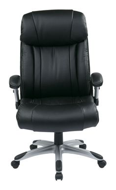 Silver Black Bonded Leather White Stiching Executive Chair