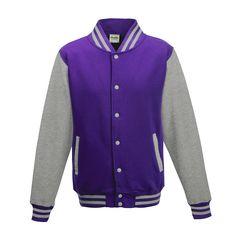 Just Hoods JH043 Purple and Heather Grey Varsity Jacket - £19.35