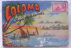 1930'S Postcard Fold Out 'LOLOMA Fiji Islands' - invitation ideas- follow my board - http://www.pinterest.com/kirsteenlawrenc/my-perfect-wedding-in-fiji/