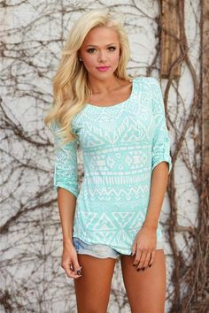 On The Bright Side Tribal Print Top - Mint