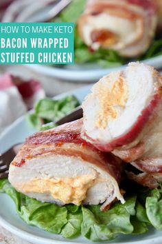 Keto friendly Bacon Wrapped Stuffed Chicken Breasts are only 2 carbs per serving, gluten free and easy to make in just 40 minutes! Easy Stuffed Chicken Recipes, Cheesy Pasta Recipes, Bacon Wrapped Stuffed Chicken, Cheese Stuffed Chicken, Bacon Recipes, Vegetarian Recipes, Free Recipes, Keto Recipes, Cornish Hen Recipe