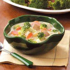 """Broccoli Chowder Recipe"" - at Taste of Home.  Looks yummy!"