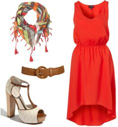 Outfit inspired by One Direction's What Makes You Beautiful video: Red high-low dress, brown belt, patterned scarf, white t-strap sandals