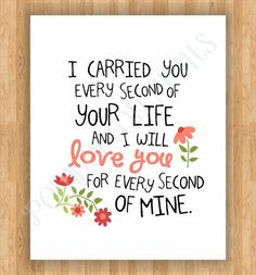 8x10 Remembrance Art Print - I Carried You Quote - Baby Girl Child Loss (Miscarriage, Stillborn, Angel Baby)