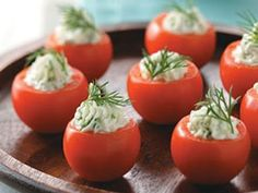 Cucumber-Stuffed Cherry Tomatoes Recipe This looks yummy. I love cherry tomatoes and cucumber. Make Ahead Appetizers, Appetizer Recipes, Tomato Appetizers, Party Recipes, Cherry Tomato Recipes, Healthy Snacks, Healthy Recipes, Tasty, Yummy Food