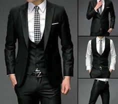 I found 'Autumn Wedding Party For Mens Groomsman Slim Fit one Button Suits Pants Vest Dress Set on Wish, check it out! Terno Slim Fit, Slim Fit Suits, Boys Tuxedo, Tuxedo For Men, Groom Tuxedo, Mens Dinner Jacket, Costumes Slim, Black Suit Men, Moda Blog