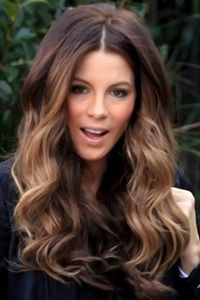 kate beckinsale long brown ombre beachy wavy hairstyle