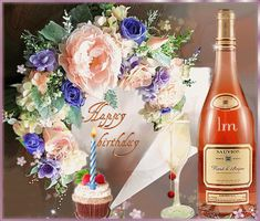 Happy Cake Day, Happy B Day, Birthday Name, Name Day, Champagne Bottles, Happy Birthday Images, Bling, Gifs, Animation