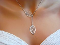 Delicate Silver Leaf Lariat Necklace from Etsy
