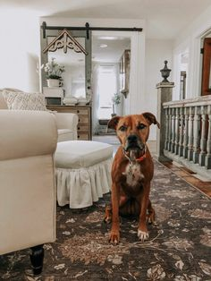 : Eclectic Home Tour - House on Winchester Farmhouse with rolling door and salvaged porch rail bannister Winchester, Old Shutters, Brick Wallpaper, Ship Lap Walls, Cozy Place, Love Home, Architectural Salvage, French Country Decorating, Beautiful Bathrooms