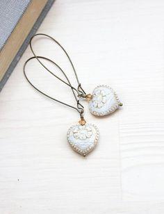 Heart Earrings Long Dangle Earrings Antique White Heart Earrings Vintage Gold Patina Love Romantic Glass Bead Earrings Unique Earrings