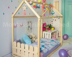 Toddler house beds with slats Montessori style bed Wooden Toddler Bed, Toddler House Bed, Kids House, Wood Nursery, Nursery Crib, Floor Bed Ikea, Bed Without Slats, Modern Kids Beds, Kids Bed Design