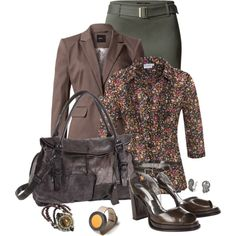Office outfit: Brown - Khaki - Floral by downtownblues on Polyvore featuring Nullame