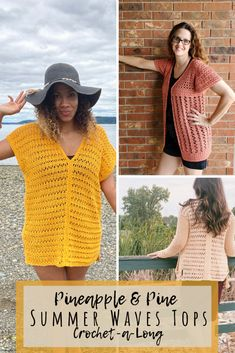 Crochet with us through the month of July with the Pineapple & Pine Summer Waves Tops! Choose from 3 designs in adult or kids sizes. #crochettops #freecrochetpattern #crochetalong #summercrochet #crochetwearable Crochet Cover Up, Free Crochet, Crochet Top, Crochet Things, Crochet Designs, Crochet Patterns, Sweater Patterns, Plus Size Summer Tops, Crochet Cardigan