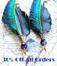 Black Friday and Cyber Monday Blowout Sale! Get 30% of your whole order from Nov. 27 - Dec. 1st. Use code: take30blackfriday www.etsy.com/shop/adrienneadelle Check out the Peacock Swords & Black Leather Hand Crafted Feather Statement Earrings this weekend