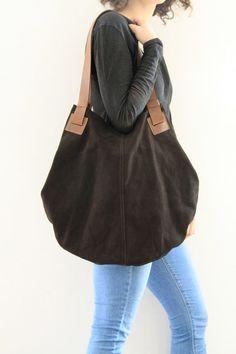 Esche braun Leder-Beutel-Soft-Leder Tasche - Beutel - über Größe - Weiche Ledertasche - Tasche - Beuteltasche - Carolina Tasche