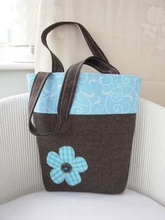 Tote Bucket Bag in Brown and Turquoise