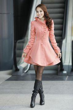 Layered Hem Ruffled A-Line Coatdress - Ringnor   YESSTYLE