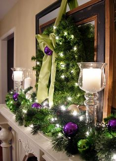 Christmas Mantle | Merry and Bright Christmas Holiday Mantel | In My Own Style