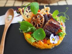 Butternut squash & Sweet potato Japanese salad with pork belly