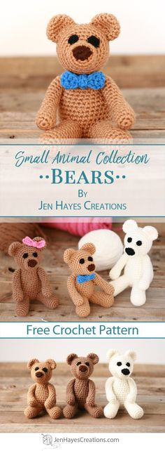 Small Animal Collection: Bears | A Free Pattern by Jen Hayes Creations