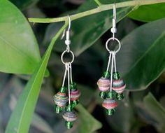 classy 3 paper bead earrings
