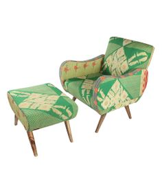 Bring a touch of bohemian style to your decor with this exotic arm chair and ottoman, crafted from mango wood and showcasing vintage kantha cloth upholstery. Funky Furniture, Furniture Covers, Upholstered Furniture, Home Decor Furniture, Unique Furniture, Chair And Ottoman Set, Love Chair, Take A Seat, Cool Chairs