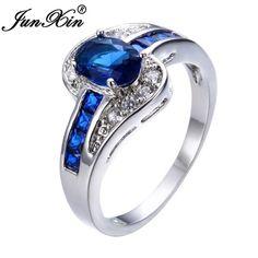 JUNXIN Unique Sapphire Jewelry Blue Oval Zircon Stone Ring – Shop Jewelry