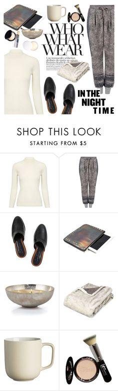 """""""What to Wear: Netflix Binge"""" by ifchic ❤ liked on Polyvore featuring AG Adriano Goldschmied, Preen, Dear Frances, Who What Wear, Mohzy, OKA, Price & Kensington, It Cosmetics, WhatToWear and NightIn"""