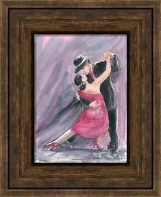 """Buy Tango Dancers - Tango frenzy in pink 11.25""""x 8.25"""", Watercolor by Art by Aashaa on Artfinder. Discover thousands of other original paintings, prints, sculptures and photography from independent artists."""