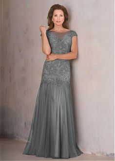 Buy discount Eye-catching Tulle Bateau Neckline Cap Sleeves Mermaid Mother Of The Bride Dresses With Lace Appliques at Dressilyme.com
