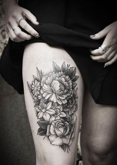 I want another thigh tattoo so bad! I'd want it on the side of my thigh though