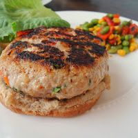 Roasted Red Pepper & Feta Chicken Burgers with Summer Edamame Salad