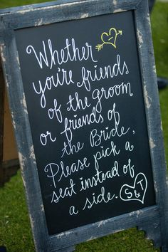 Pick a seat, not a side! Love this! #weddingideas #signs #signage {Ryan Nicole Photography}
