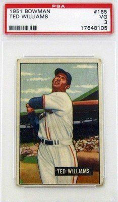 1951 Ted Williams Red Sox Bowman Trading Card PSA VG 3 . $255.75. Featured is a 1951 Ted Williams Boston Red Sox Bowman Trading Card. This card is slabbed by PSA. The card is graded as VG 3. Williams was a legendary outfielder for the Red Sox. He was a 19x All-Star selection, a 2x AL MVP, and the last player to hit over .400 in a season. He was inducted into the Hall of Fame in 1966.