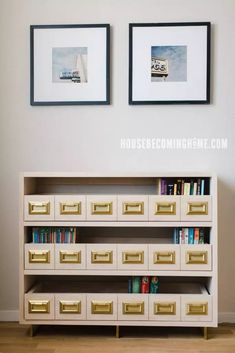 Build a Catalog Bookcase - House Becoming Home Bookcase With Drawers, Pull Out Drawers, Coping Saw, Bookcase Organization, Faux Panels, Tool Table, Frame Shelf, Brass Drawer Pulls, Pocket Hole Screws