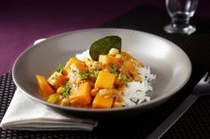 Recette de Potiron à la thaï, curry de pois chiche, riz basmati parfumé