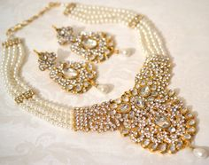 Beautiful Gold Tone Pearl Necklace And Earring Set Bridal Wedding Bollywood Indian