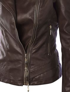 MBJ Womens Panelled Faux Leather Moto Jacket at Amazon Women's Coats Shop