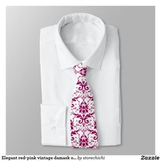 Elegant red-pink vintage damask on white