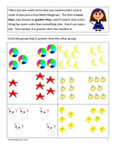 Two free worksheets to teach your students Greater Than and Less Than with Mia the Math Magician.  Falls under Common Core standard K.CC.6.