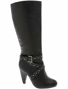 Sexy boot boasts bold style with grommet-detailed straps wrapped around the ankle and a stacked heel to keep you standing tall. Made to work with your curves, the wide width, wide calf design offers a just-right fit. Side zipper for easy entry.  lanebryant.com