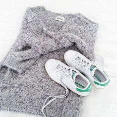Ganni Knit Sweater And Adidas Stan Smith